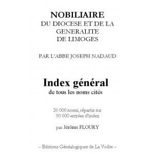 Index général du Nobiliaire du diocèse et de la Généralité de Limoges